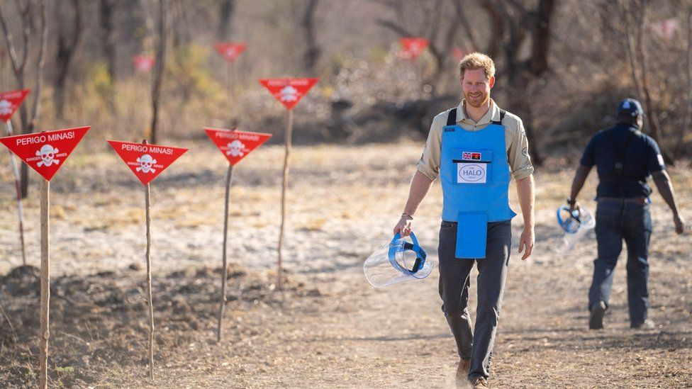 Prince Harry see the work of landmine clearance charity the Halo Trust in Angola on 27 September 2019