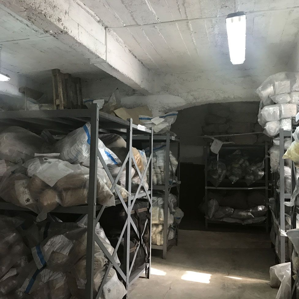 Police store room, with bags of cannabis