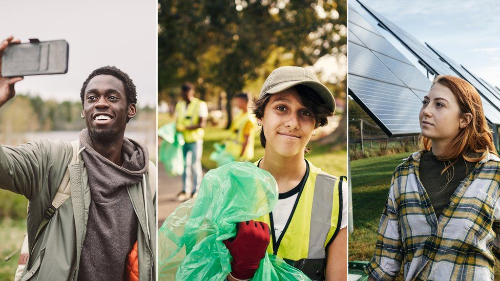 Three images of young people outside