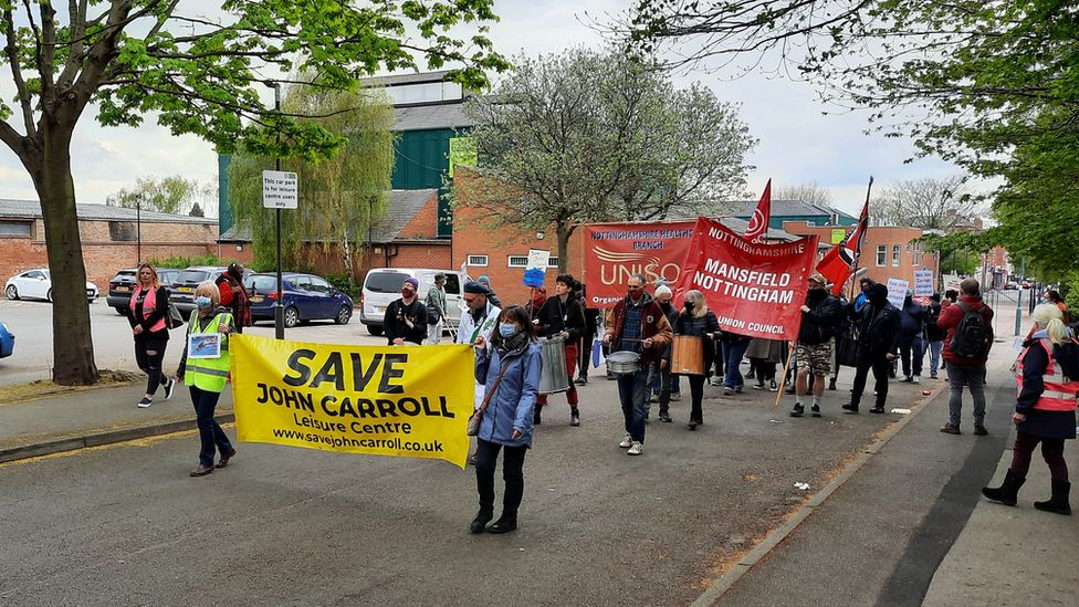 Protest outside leisure centre
