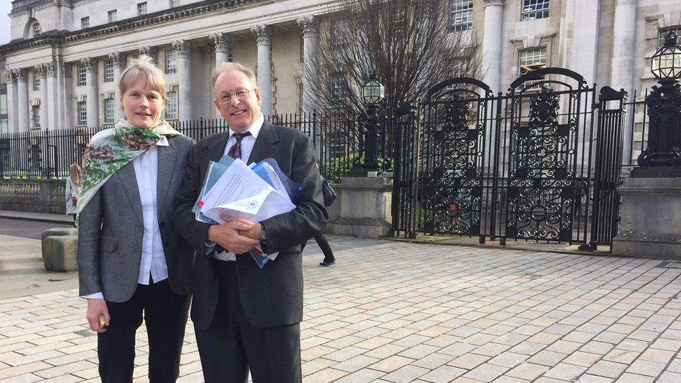 Chris Murphy and his wife Doris. Mr Murphy is challenging plans for a dual carriageway of the A6 at Toome