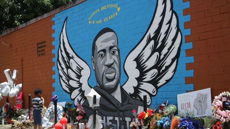 A mural dedicated to George Floyd