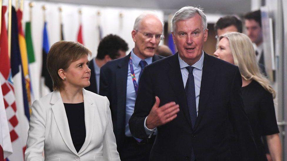 Nicola Sturgeon and Michel Barnier