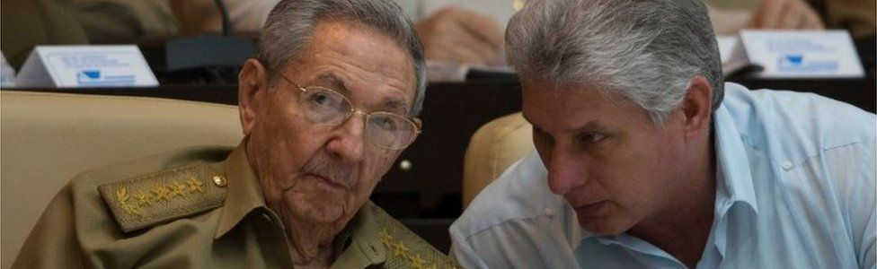 In this file handout picture released by Cuban official website www.cubadebate.cu on July 8, 2016, Cuban President Raul Castro (L) talks with First Vice-Presidente Miguel Diaz-Canel during the First Annual Session of the Cuban Parliament at the Convention Palace in Havana