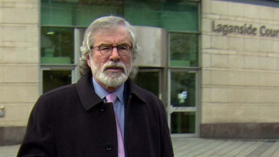 Gerry Adams outside court, 14 October 2019