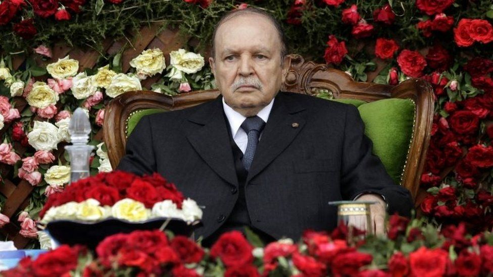 Algeria's President Abdelaziz Bouteflika attends a graduation ceremony of trainees army officers at a military academy in Cherchell - 2012
