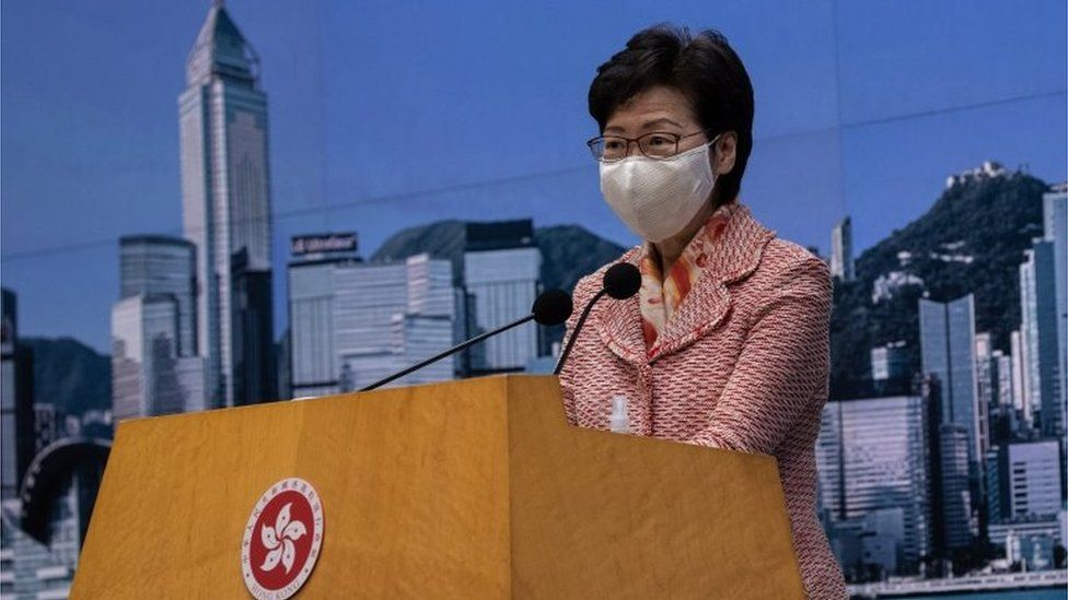 Hong Kong Chief Executive Carrie Lam speaks during a press conference in Hong Kong, China, 06 October 2020.