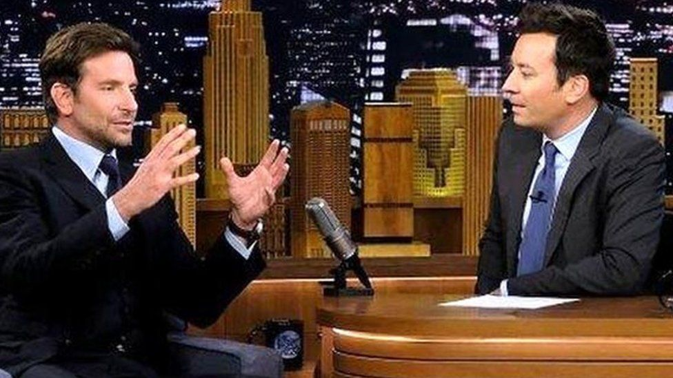 Bradley Cooper and host Jimmy Fallon