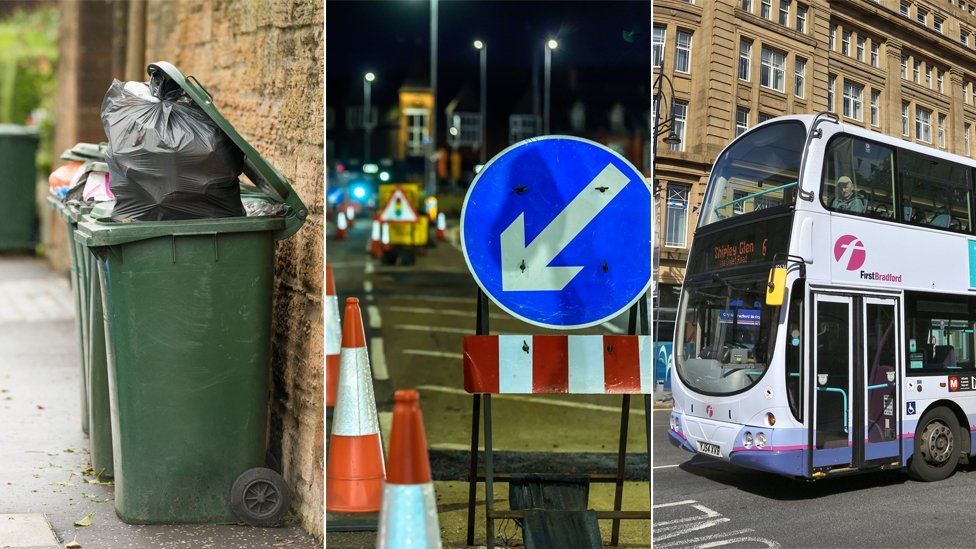 Bins, roadworks and a bus