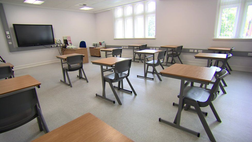 An empty classroom at Methodist College in Belfast