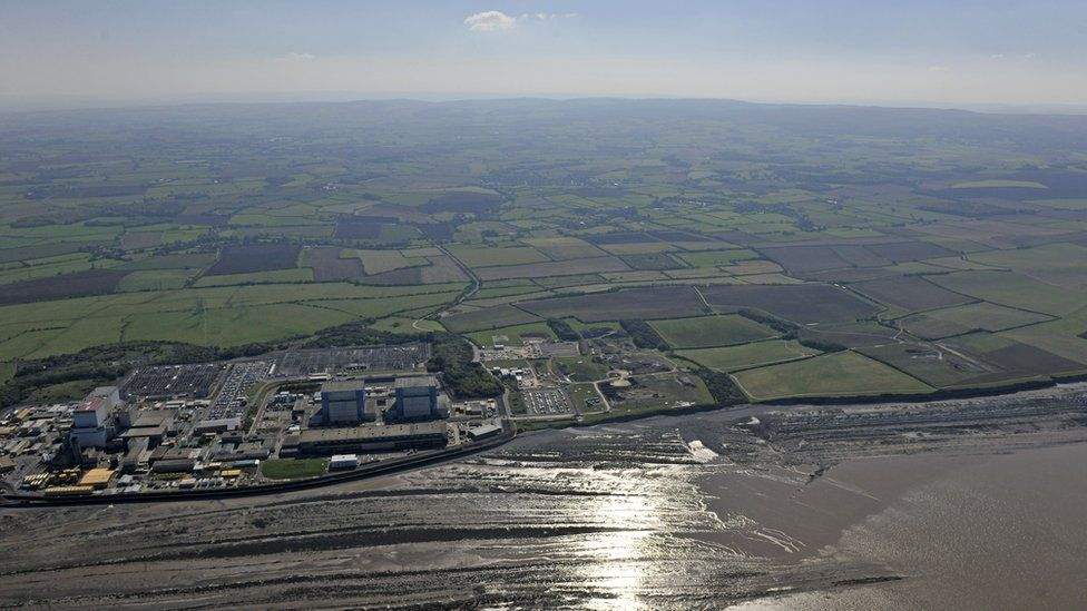 Aerial view of Hinkley Point site, with views of Hinkley A and Hinkley B