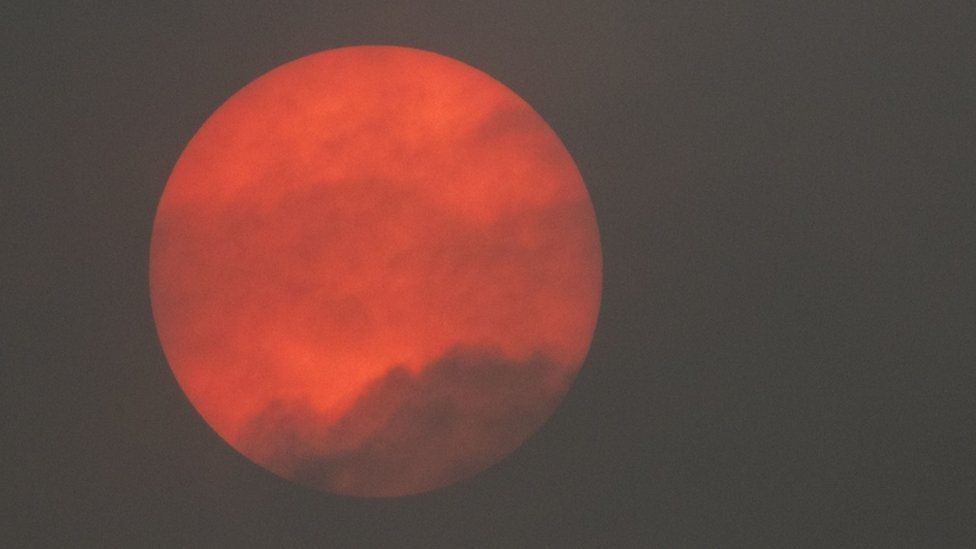 Red sun spotted in the sky over Bromsgrove in Worcestershire, which was caused by Storm Ophelia.