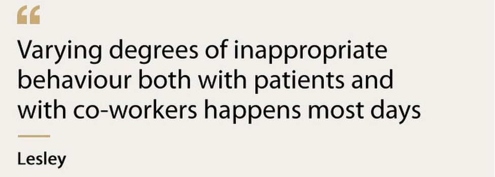 """""""Varying degrees of inappropriate behaviour both with patients and co-workers happens most days"""" - Lesley"""