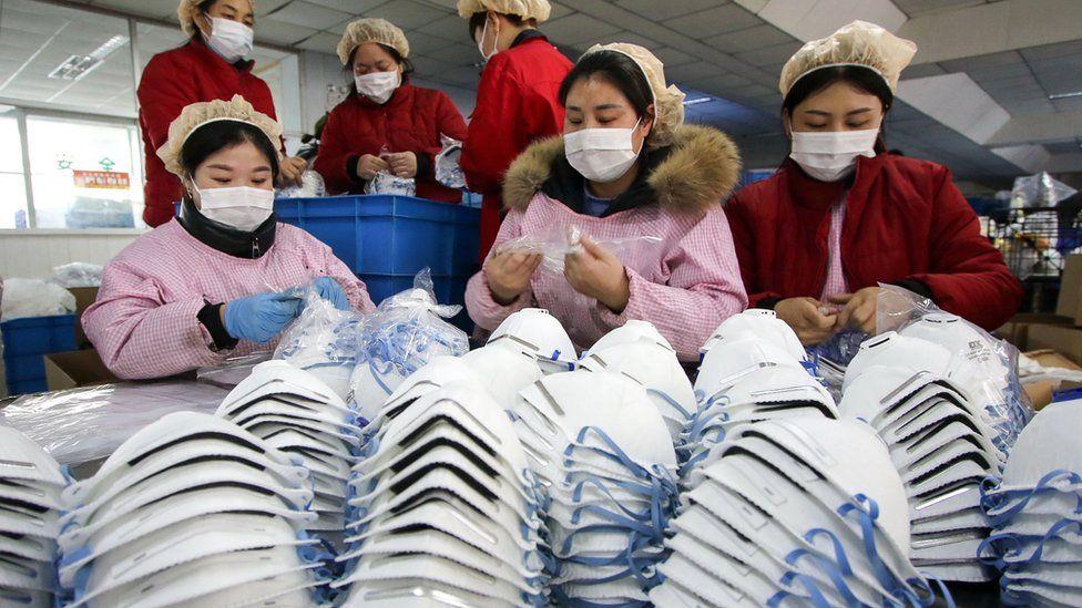 Facemasks being made in Hubei