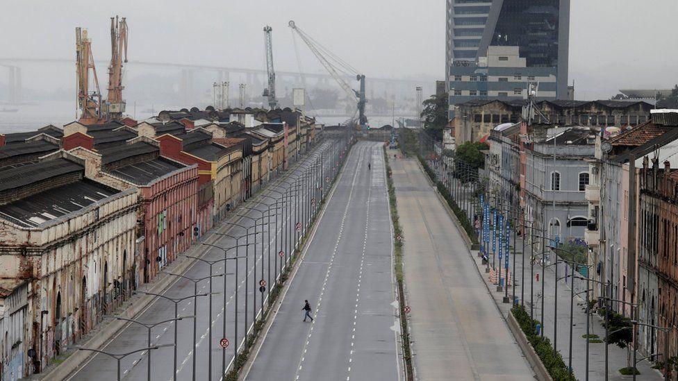 An empty street in Rio de Janeiro after demonstrators blocked traffic