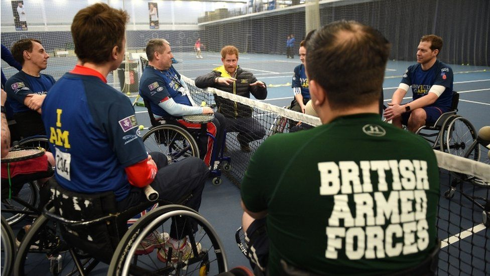 Prince Harry meets athletes competing for a place on the UK team at the Invictus Games