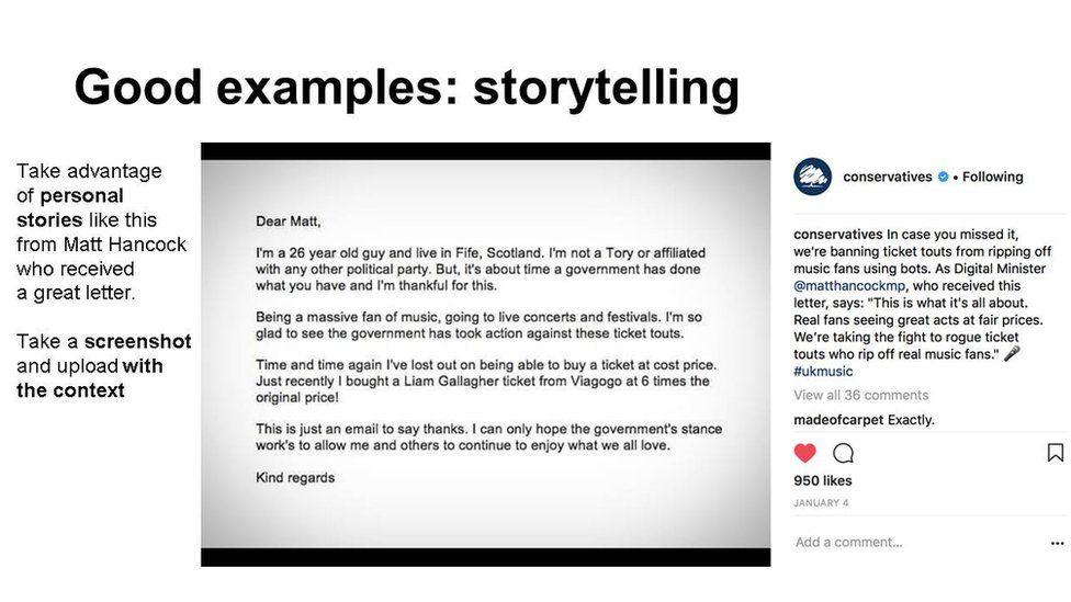 """Slide: """"good examples: storytelling"""""""