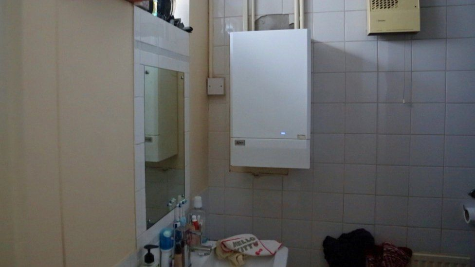 The boiler in the family's bathroom