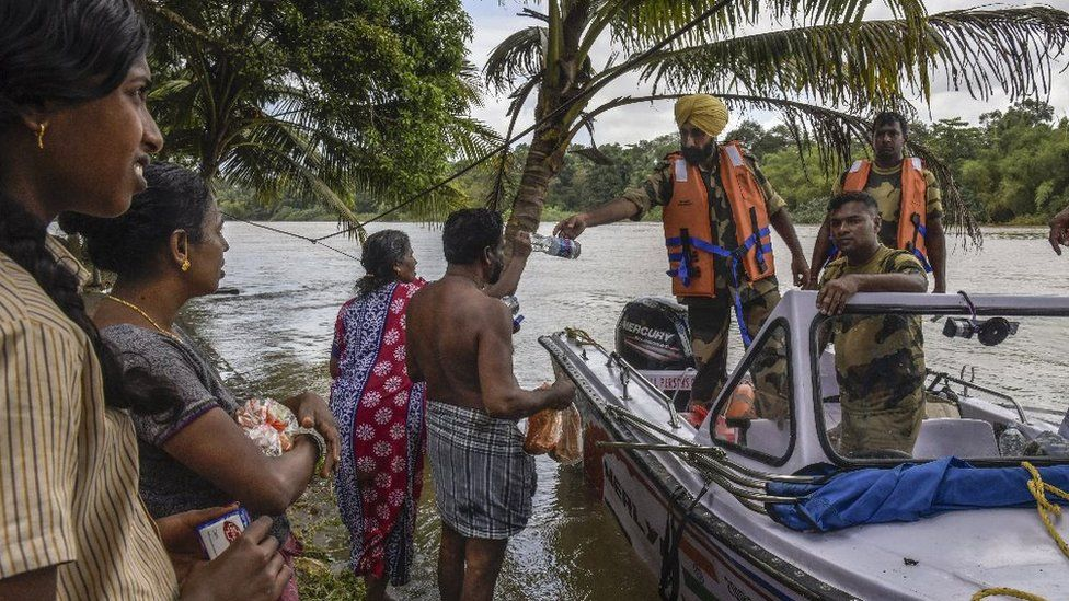 Indian army boat handing out food
