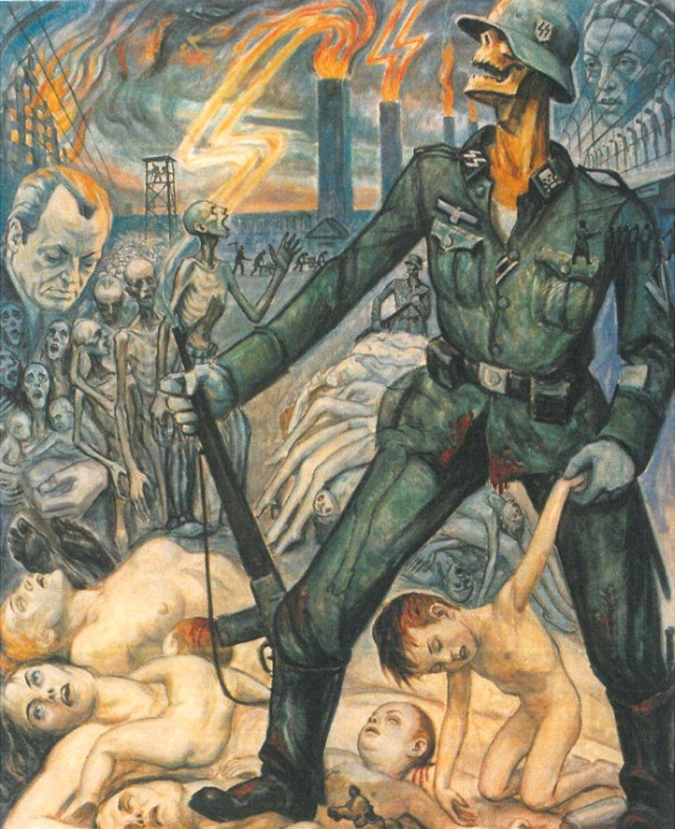 Olère painting - SS guard/crematoria/bodies (courtesy of Auschwitz-Birkenau Memorial)