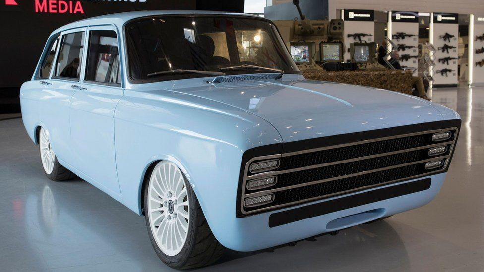 A prototype electric vehicle developed by Russian manufacturing company Kalashnikov, 22 August 2018