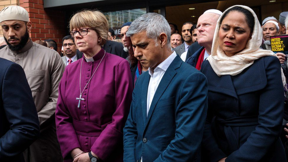 Sadiq Khan and faith and community leaders gathered for the vigil at East London Mosque