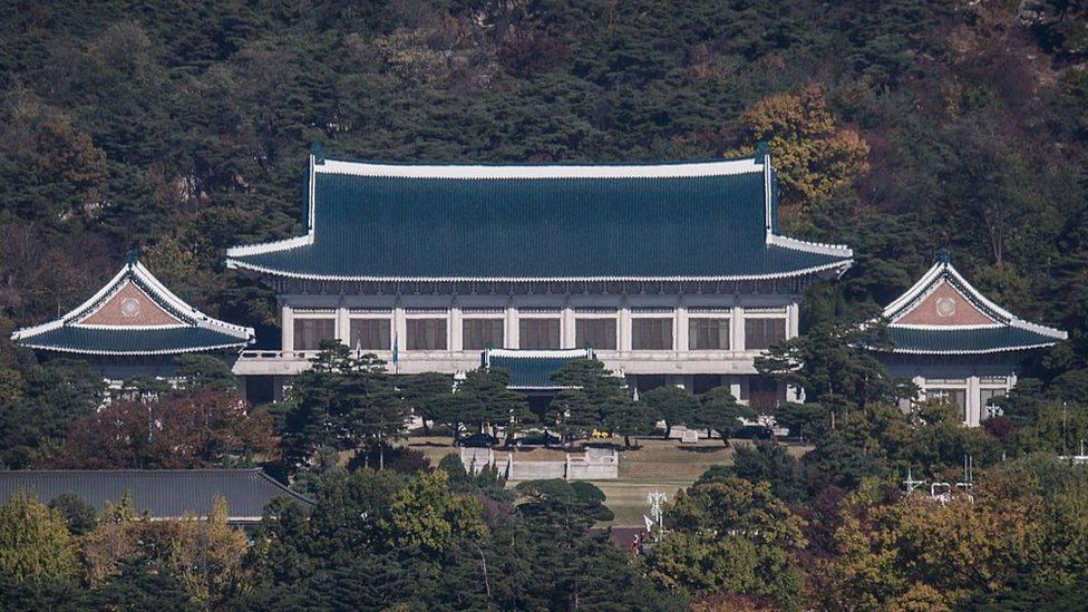 A general view shows the presidential Blue House in Seoul on November 1, 2016.