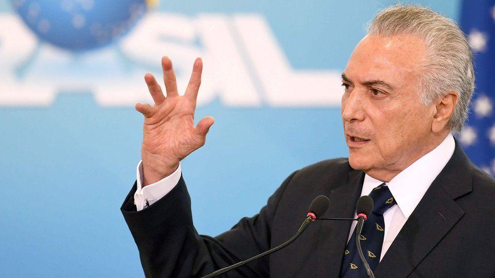 Brazilian President Michel Temer delivers a speech in Brasilia on 7 March