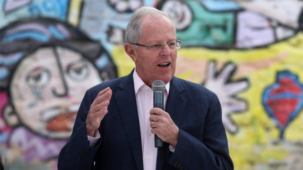 """Presidential candidate Pedro Pablo Kuczynski of the """"Peruanos por el Kambio"""" political party gives a speech during a breakfast before casting his ballot in Lima, Peru, Sunday, June 5, 2016"""