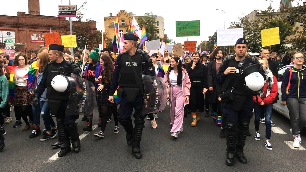 A march in support of LGBT+ rights