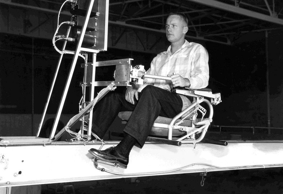 Neil Armstrong operating the Iron Cross Attitude Simulator which simulated X-15 flight at high altitudes