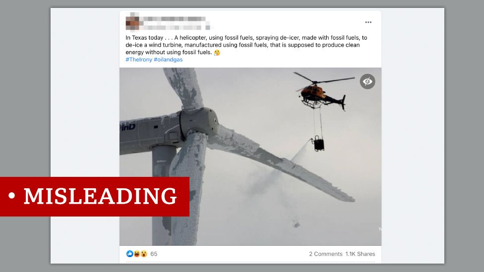 A misleading image showing an old photo of a frozen wind turbine