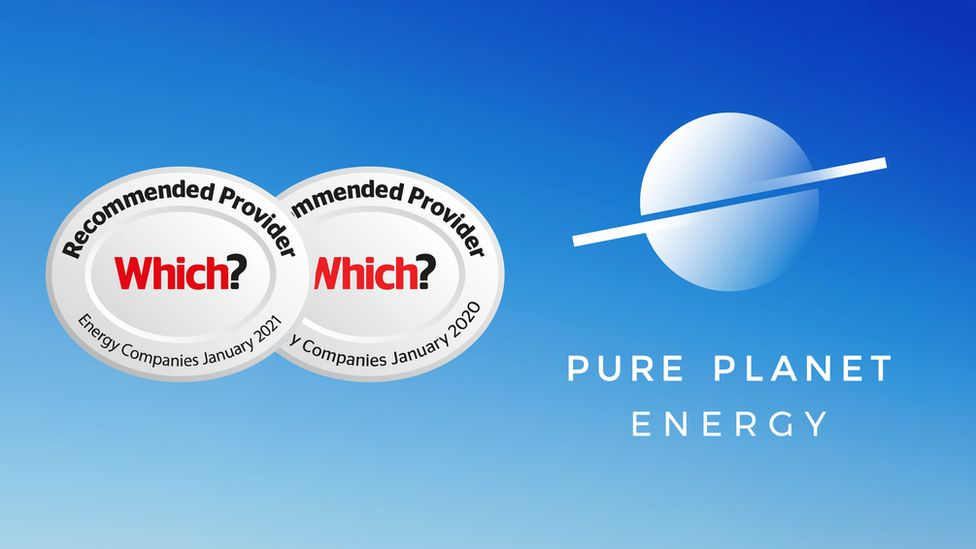 Pure Planet Energy graphic showing the Which? awards they won in 2020 and 2021