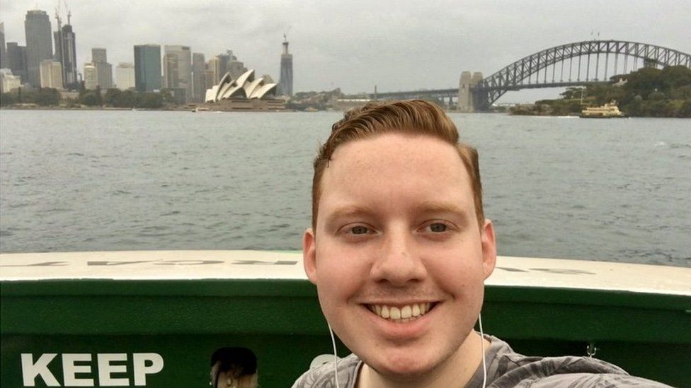 Luke Shortland in front of the Sydney Opera House
