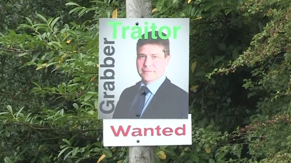 A poster featuring a picture of Kevin Lunney and text that reads: Wanted - grabber; traitor