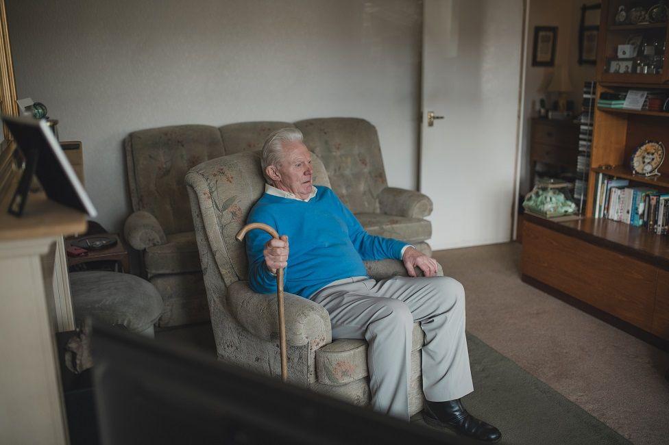 Elderly man self-isolating