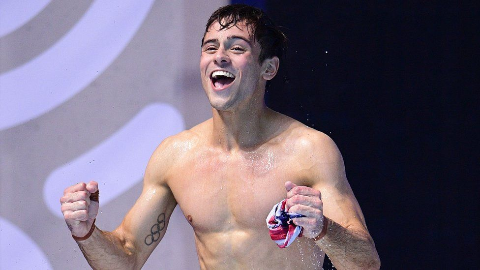 Tom Daley celebrates