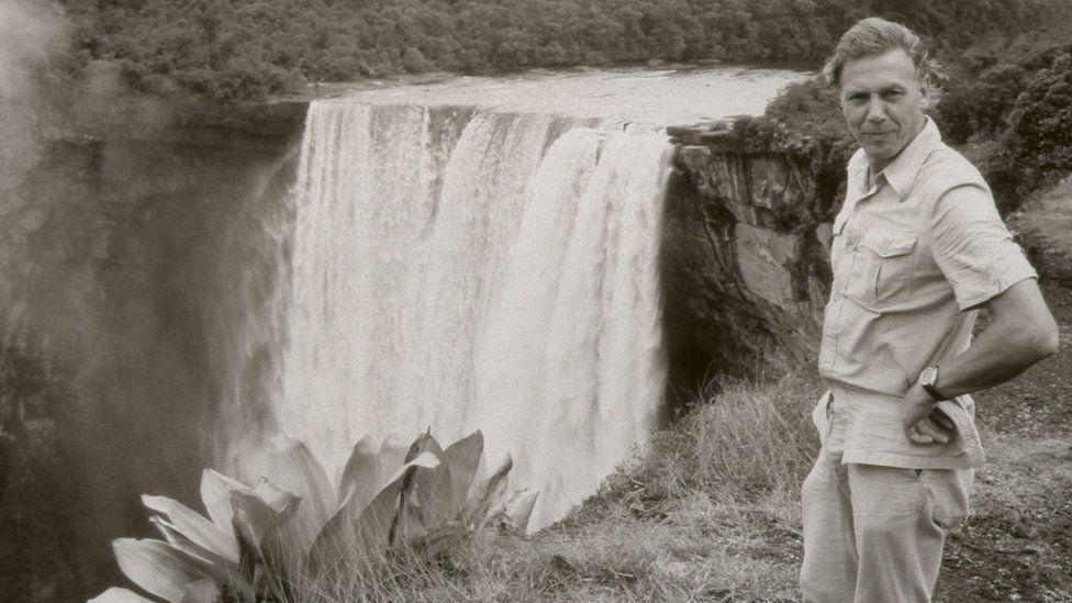 David Attenborough at Kaieteur Falls in Guyana in Life on Earth