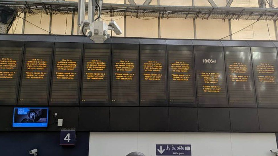 Boards at Waterloo station.