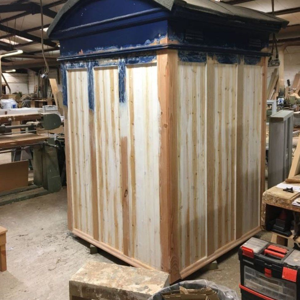 The police box in the workshop