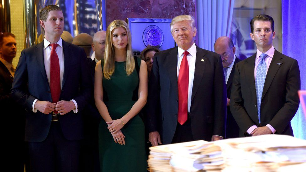 US President Donald Trump along with his children Eric(L) Ivanka and Donald Jr