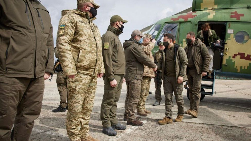Ukraine's President Zelensky visits troops in the Donbas region or Ukraine