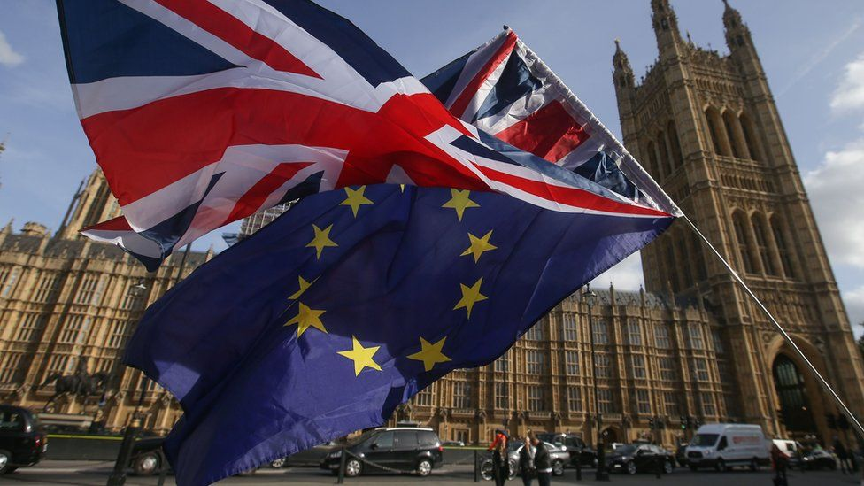 EU and UK flags at Westminster