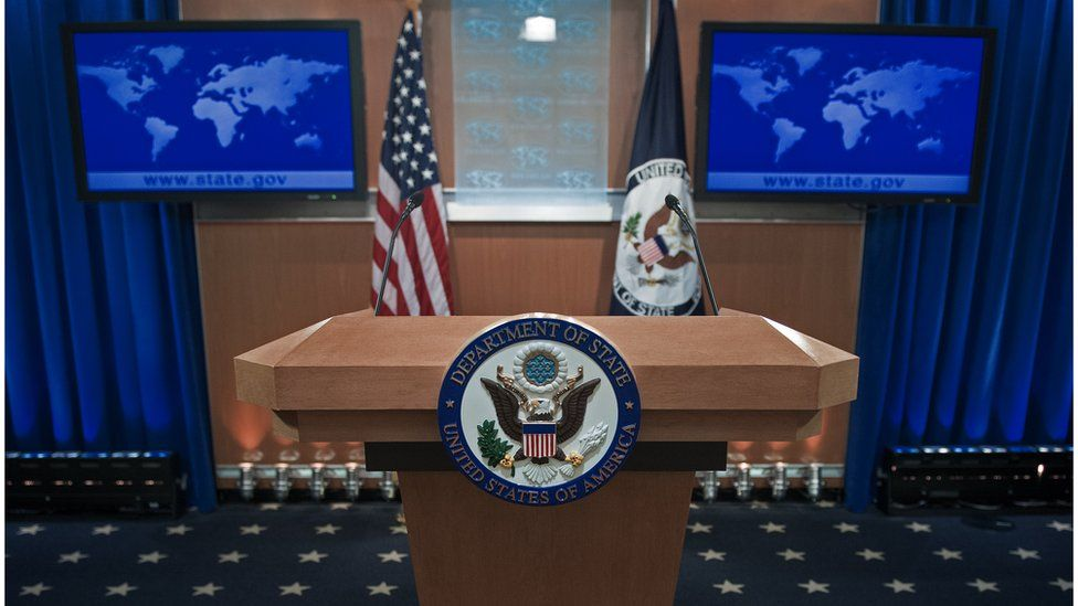 The podium-lectern area is seen November 26, 2013 in the State Department briefing room in Washington, DC