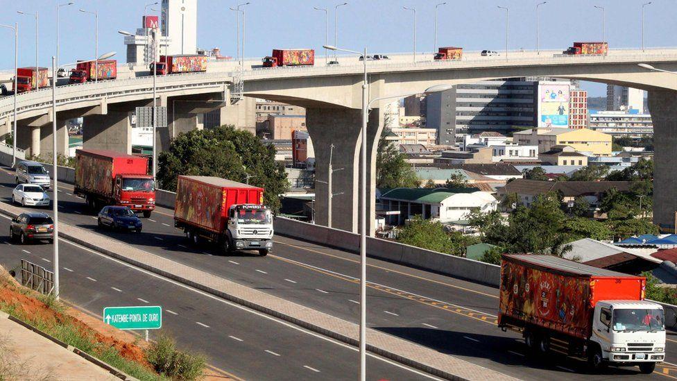 Lorries crossing the new bridge - 10 November
