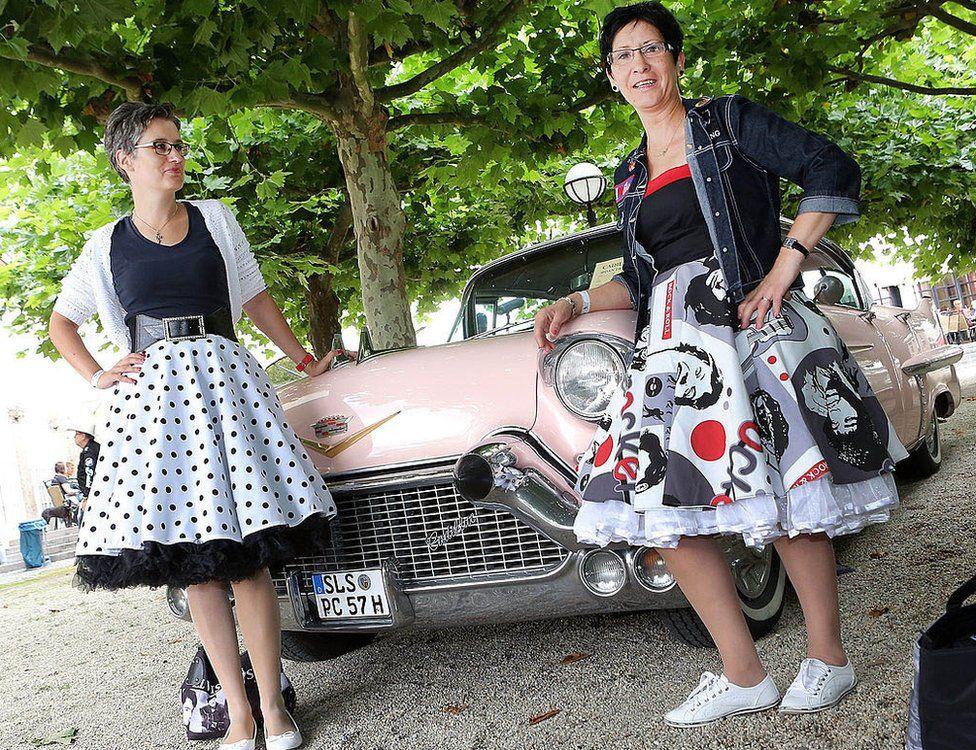 Elvis fans in 50s attire at the 2014 European Elvis Festival in Bad Nauheim
