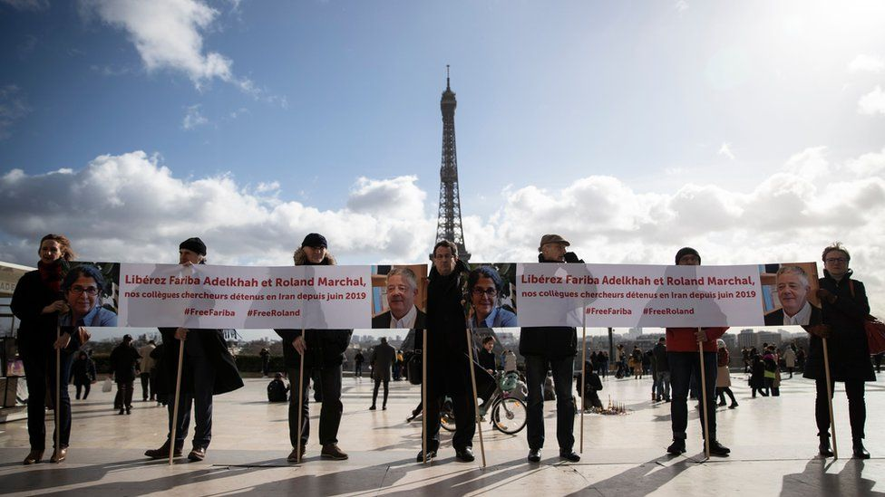 People protest against the detention of Fariba Adelkhah and Roland Marchal at the Trocadero, in Paris, France (11 February 2020)