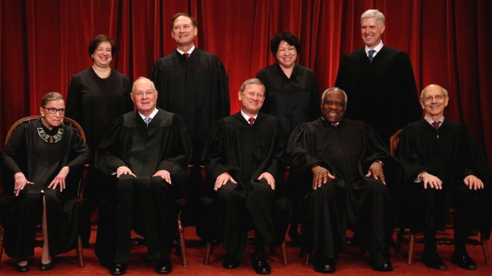 The appointment of Neil Gorsuch (top right) reinstated a 5-4 conservative majority on the Supreme Court