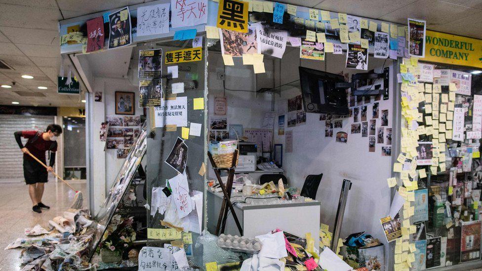 The vandalised office of lawmaker Junius Ho on 22 July 2019