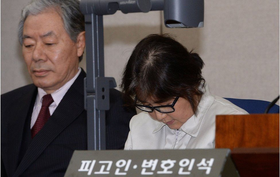 Choi Soon-Sil, the jailed confidante of disgraced South Korean President Park Geun-Hye, appears for the first day of her trial at the Seoul Central District Court on 19 December 2016 in Seoul, South Korea
